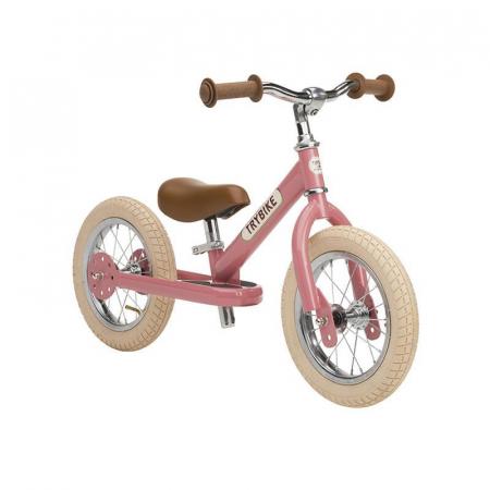 Bicicleta fara pedale vintage 2 in 1 tricicleta copii, roz, Trybike [0]