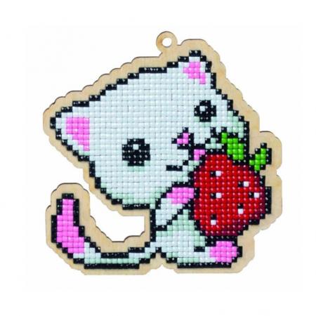 Pictura diamante kit pisica cu capsuna [0]