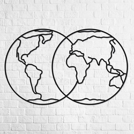 Puzzle 3D decorativ HEMISPHERES OF EARTH din lemn 91 piese @ EWA [2]