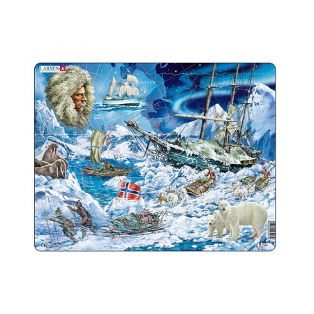 Puzzle maxi Fram, ursul polar - o calatorie catre Polul Nord, orientare tip vedere, 65 de piese, Larsen [1]