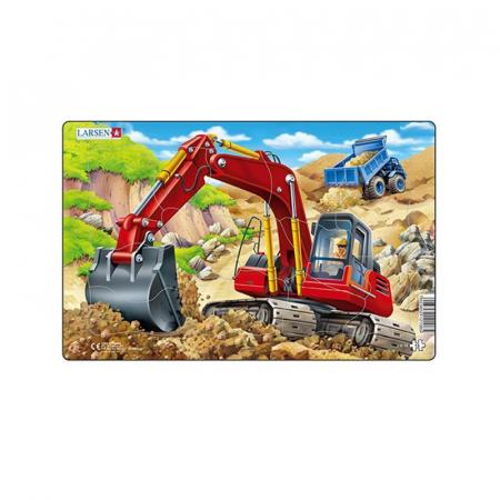 Puzzle midi Constructii, buldozer albastru, orientare tip vedere, 15 piese, Larsen [1]