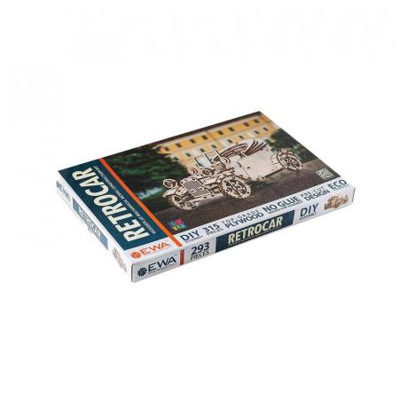 Set constructie cu mecanism Puzzle 3D RETROCAR din lemn 315 piese @ EWA [5]