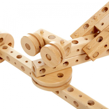 Set constructie mecanica din lemn Polytechnical Large, 300 piese, Pony [6]