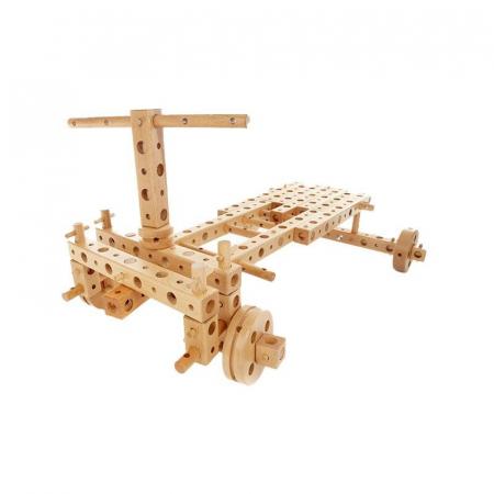 Set constructie mecanica din lemn Pony 01, 120 piese, Pony [6]
