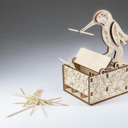 Set constructie mini cu mecanism Puzzle 3D BIRD din lemn 38 piese @ EWA [2]