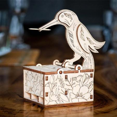 Set constructie mini cu mecanism Puzzle 3D BIRD din lemn 38 piese @ EWA [1]