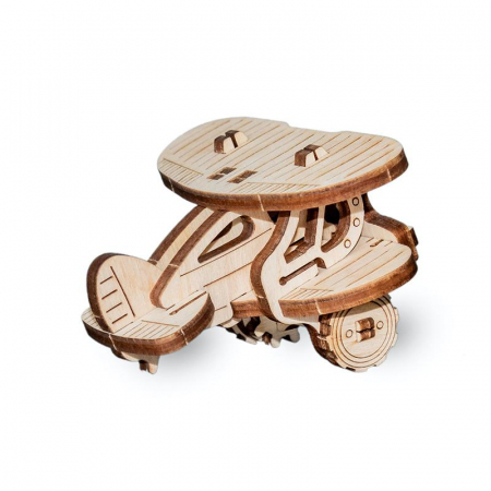 Set constructie mini cu mecanism Puzzle 3D PLANE din lemn 22 piese @ EWA [1]