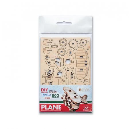 Set constructie mini cu mecanism Puzzle 3D PLANE din lemn 22 piese @ EWA [5]