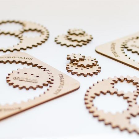 Set constructie mini cu mecanism Puzzle 3D WOODEN SPIROGRAPH din lemn 6 piese @ EWA [3]