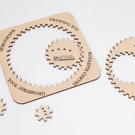 Set constructie mini cu mecanism Puzzle 3D WOODEN SPIROGRAPH din lemn 6 piese @ EWA [4]