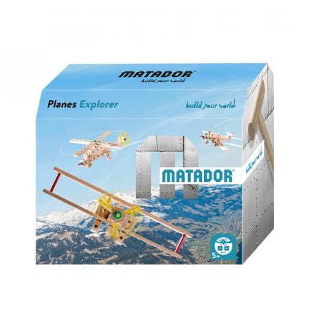 Set cuburi de constructie din lemn Explorer World Planes, +5 ani, Matador [4]