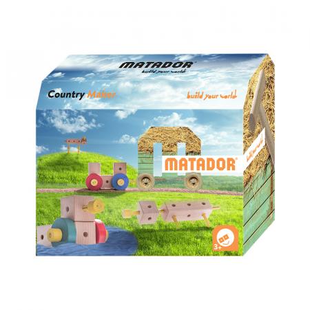 Set cuburi de constructie din lemn Maker World Country, +3 ani, Matador [6]