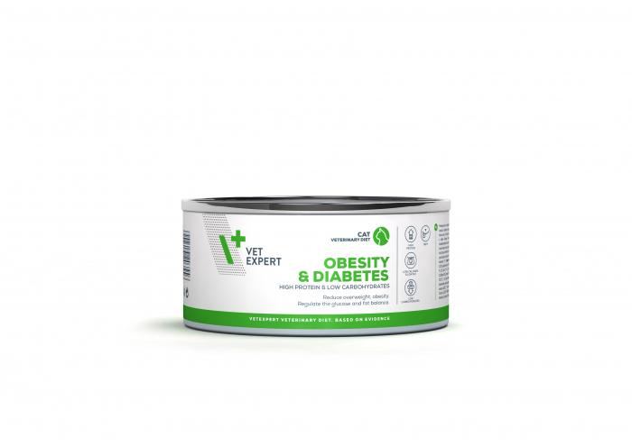 4T Dieta Veterinara pisici Obesity& Diabetes , VetExpert, conserva, 100g [0]
