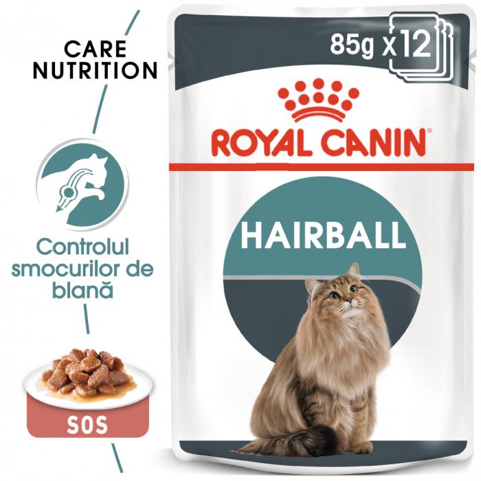 Royal Canin Hairball Care Adult, plic hrană umedă pisici, limitarea ghemurilor de blană, (în sos), 12 x 85 g [0]