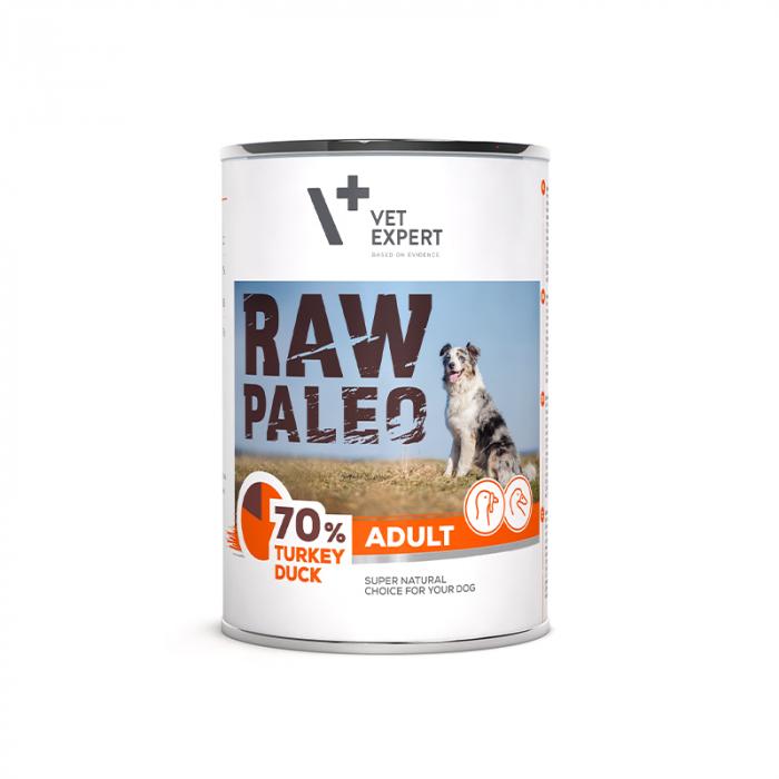 Hrana umeda pentru caini, adult, RAW PALEO, carne de curcan si rata, 400 g [0]