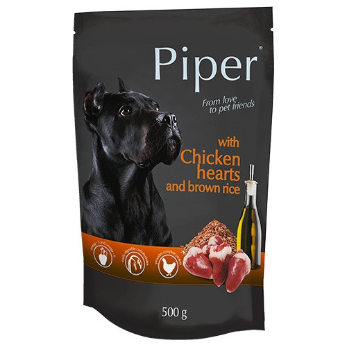 Hrana umeda pentru caini Piper Adult, Inimi de pui si Orez brun, PLIC, 500 g [0]