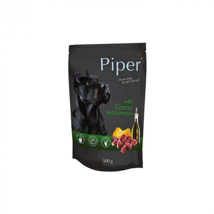 Hrana umeda pentru caini Piper Adult, Vanat si Dovleac, PLIC, 500 g [0]