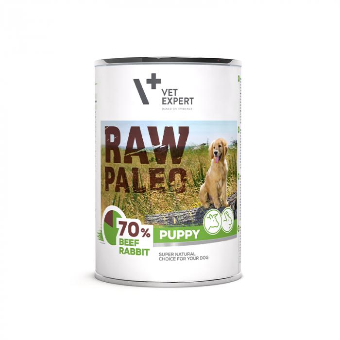 Hrana umeda pentru caini, puppy, RAW PALEO, carne de vita si iepure, 400 g [0]