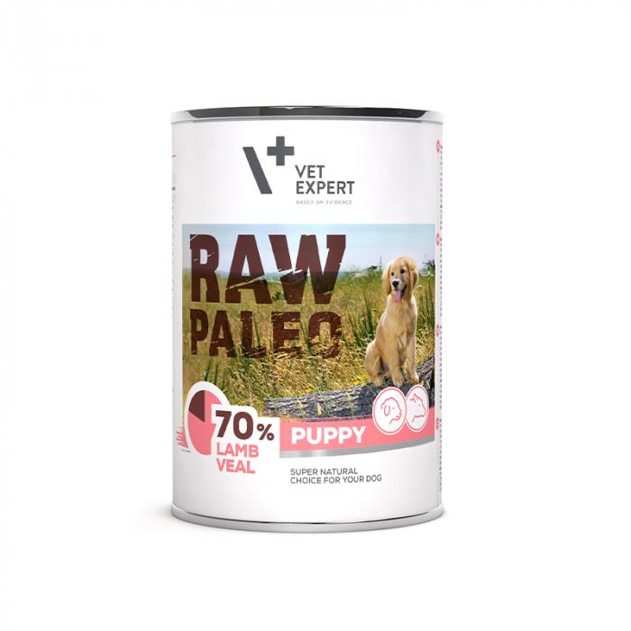 Hrana umeda pentru caini, puppy, RAW PALEO, miel si vitel, 400 g [0]