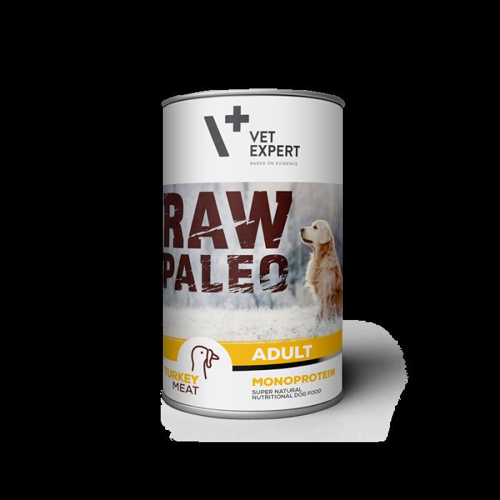 Hrana umeda pentru caini, RAW PALEO, adult, carne de curcan, conserva monoproteica, 400 g [0]