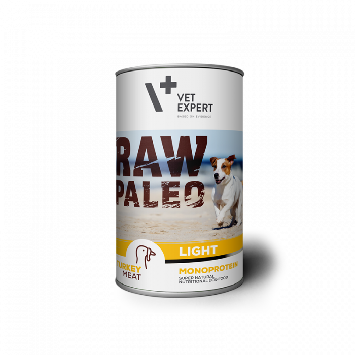 Hrana umeda pentru caini, RAW PALEO Light, conserva monoproteica, curcan, 400 g [0]