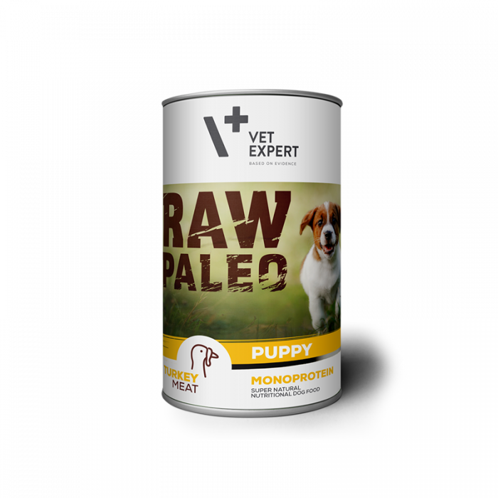 Hrana umeda pentru caini, RAW PALEO Puppy, conserva monoproteica, carne de curcan, 400 g [0]
