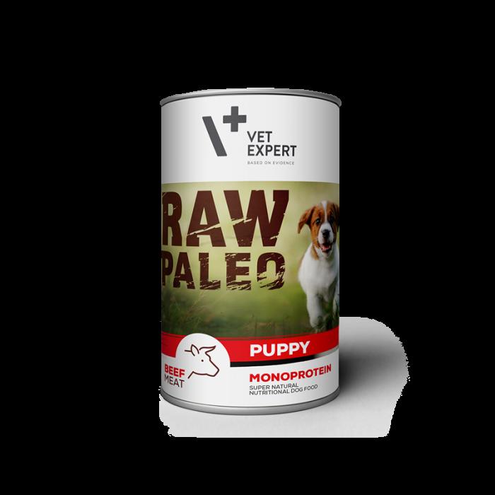 Hrana umeda pentru caini RAW PALEO Puppy, conserva monoproteica, carne de vita, 400 g [0]