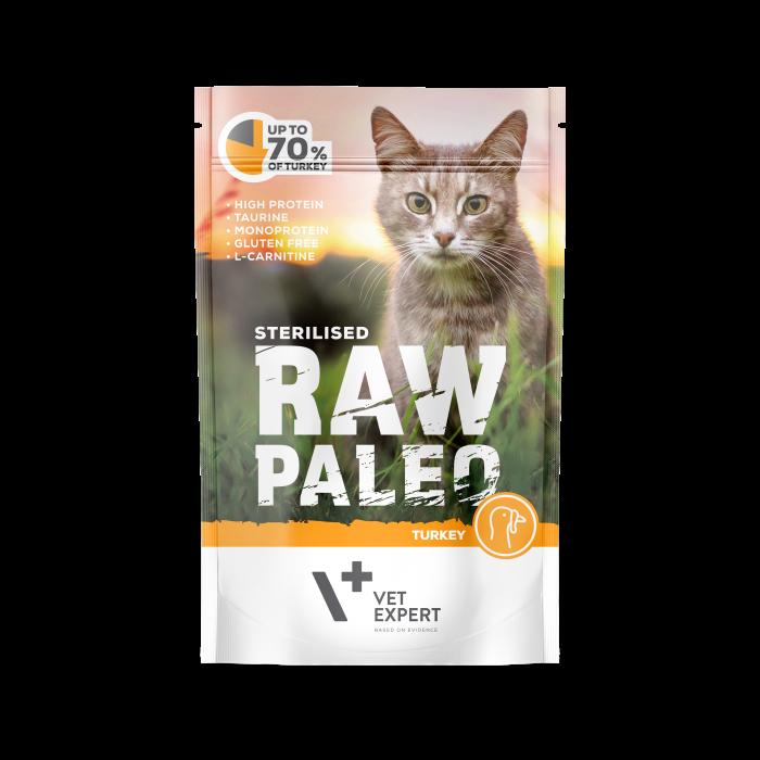 Hrana umeda pentru pisici, RAW PALEO CAT, STERILISED, carne de curcan, 100 g [0]