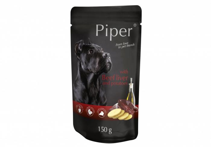 Hrana umeda Piper Adult, Ficat de Vita si Cartofi, PLIC, 150 g [0]