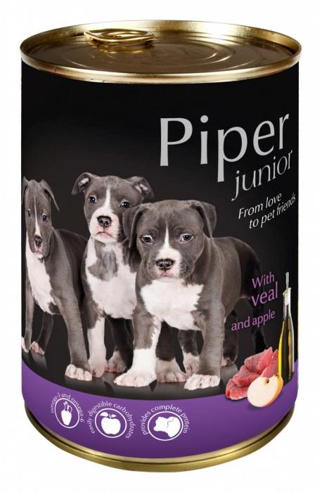 Hrana umeda Piper Junior, Vitel si Mere, 400 g [0]
