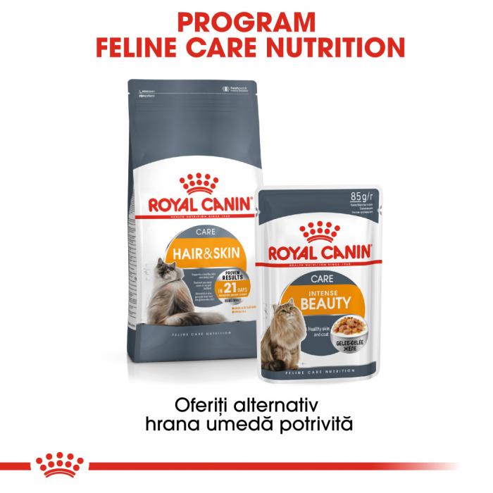 Royal Canin Intense Beauty Care Adult, plic hrană umedă pisici, piele și blană, (în aspic), 12 x 85 g [4]