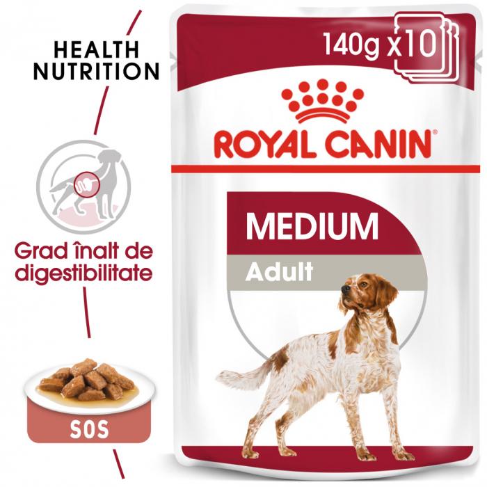 Royal Canin Medium Adult, bax hrană umedă câini, (în sos) 10 x 140 g [0]
