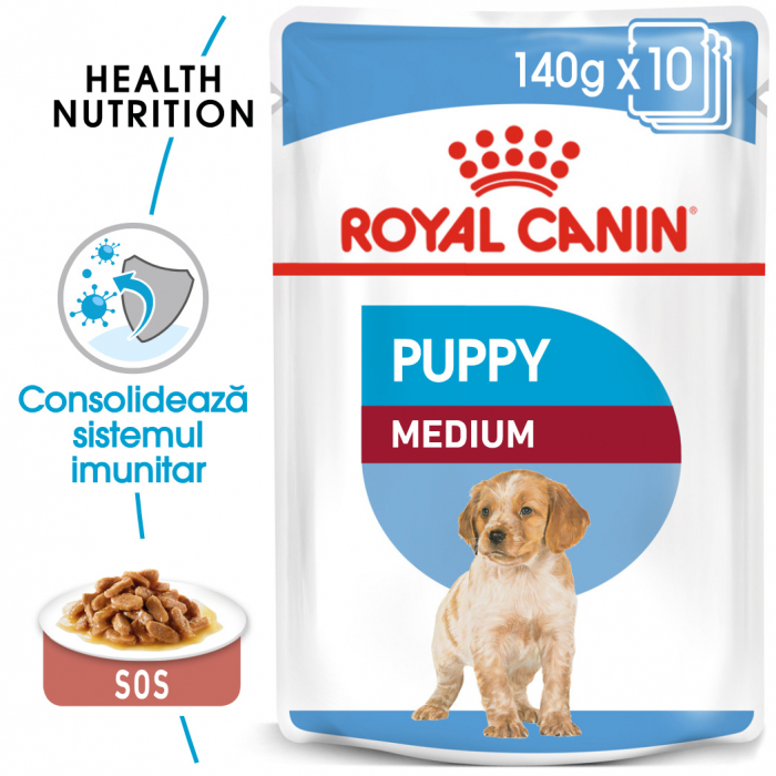 Royal Canin Medium Puppy, plic hrană umedă câini junior, (în sos),  10 x 140 g [0]