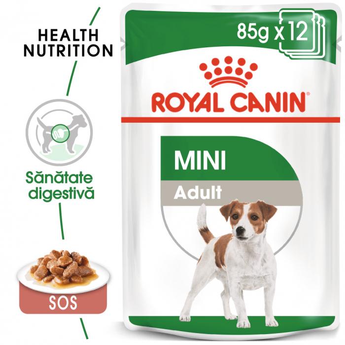 Royal Canin Mini Adult, plic hrană umedă câini, (în sos),  12 x 85 g [0]