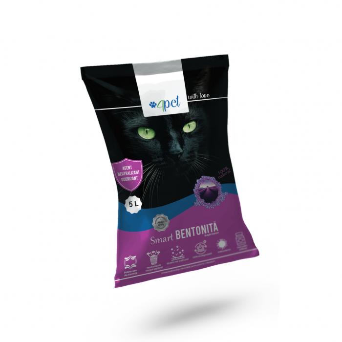 Nisip litiera pisici Bentonita Smart, Mar, 4PET, 5L [0]
