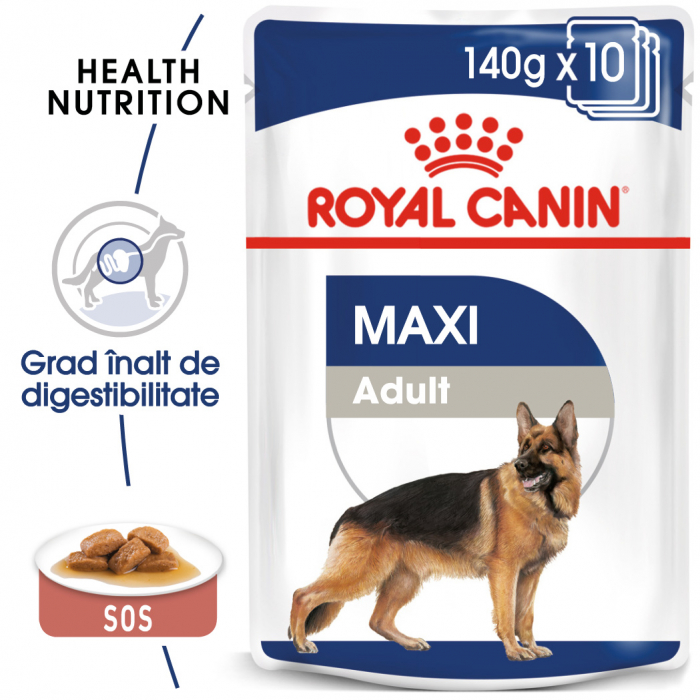 Royal Canin Maxi Adult, bax hrană umedă câini, (în sos),10 x 140 g [0]