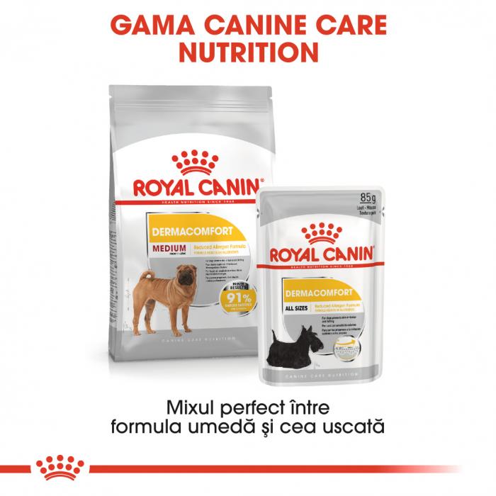 Royal Canin Medium Dermacomfort, hrană uscată câini, prevenirea iritațiilor pielii, 10KG [5]