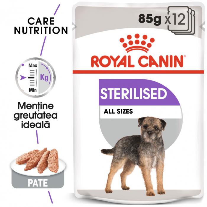Royal Canin Sterilised Adult, bax hrană umedă câini sterilizați, (pate), 12X85G [0]