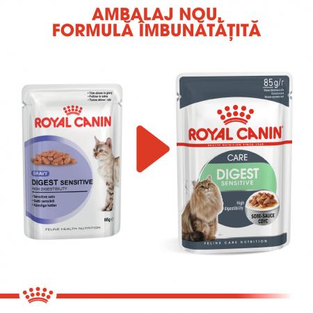 Royal Canin Digest Sensitive Care Adult, plic hrană umedă pisici, confort digestiv, (în sos), 12 x 85 g [1]