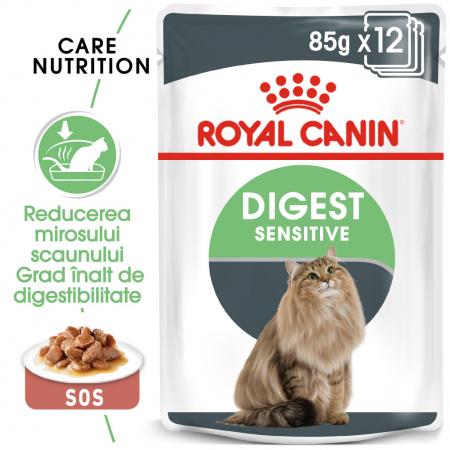 Royal Canin Digest Sensitive Care Adult, plic hrană umedă pisici, confort digestiv, (în sos), 12 x 85 g [0]