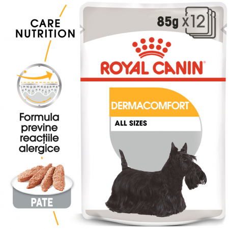 Royal Canin Dermacomfort Adult, bax hrană umedă câini, prevenirea iritațiilor pielii (pate), 12X85G [0]