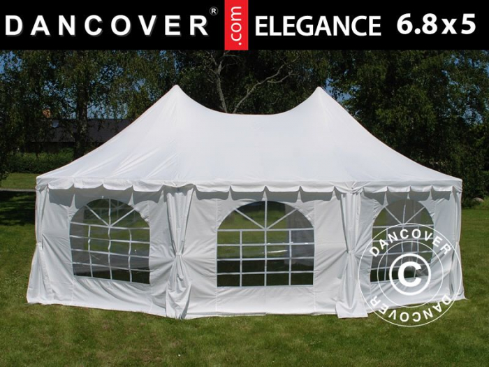 Acoperis pavilion - cort, 8 colturi 6.8 x 5.0 m - alb [0]