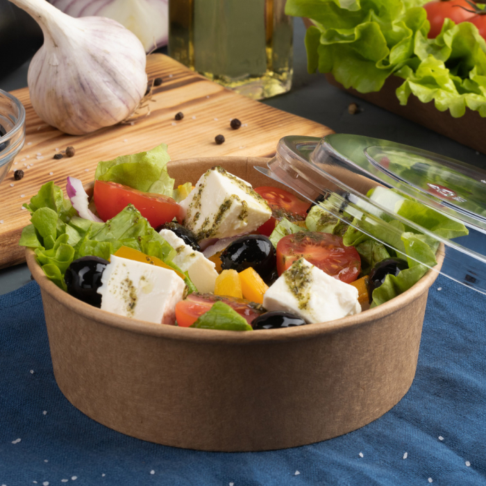 Bol salata CAESAR 1.300ml, diam.18.5cm - hartie kraft impregnata PLA - inalt 6.6 cm [0]