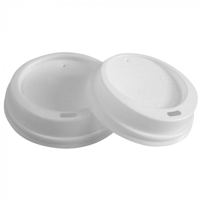 Capac Bio pahar de cafea din CPLA (Polylactid) - alb 9cm - 50 buc [0]
