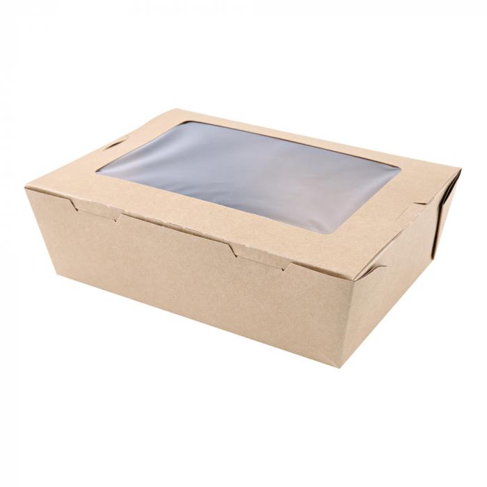 Cutie catering MENU 21.5x16.2x6.4 cm cu fereastra - hartie kraft impregnata PLA - 100% degradabila [0]
