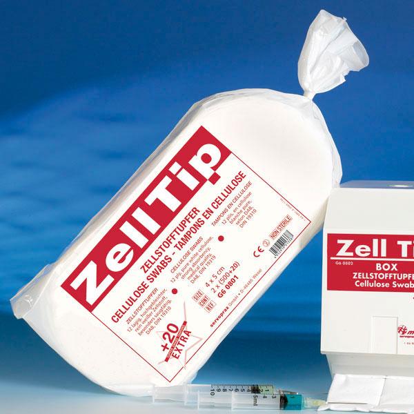 Dispenser ZELLTIP pentru tampoane celuloza -alb/rosu [1]