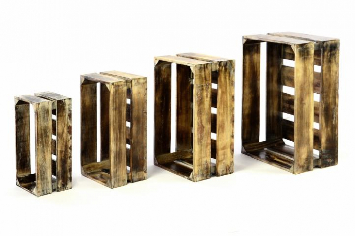 Lada depozitare VINTAGE din lemn de Albizia - set de 4 bucati - diverse marimi [1]