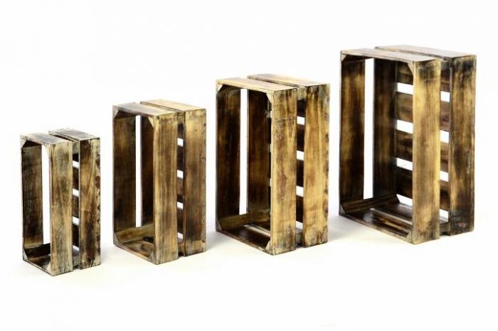 Lada depozitare VINTAGE din lemn de Albizia - set de 4 bucati - diverse marimi [0]