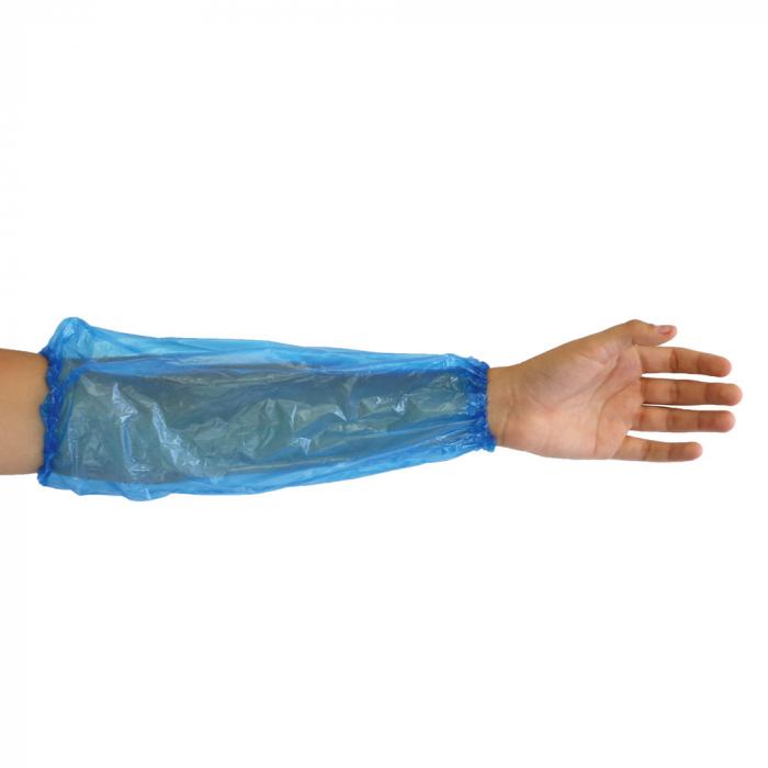 Maneca protectie HYGONORM - din PE, cusut manual, cu elastic - culoare albastru - 40 cm, 20my - 100 buc [0]