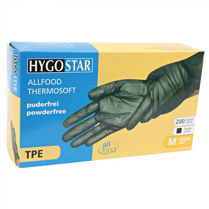 Manusa de unica folosinta ALLFOOD Thermosoft din TPE (elastomer termoplastic) marime XL - fara pudra - culoare negru - 200 buc [0]